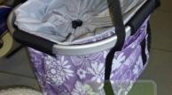 Divatos praktikus első kosár kerékpárra lila virágos